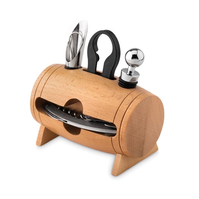 MO9523-40<br> Set pentru vin in stativ lemn