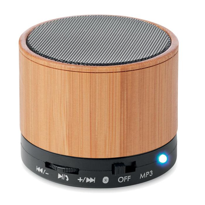MO9608-03<br> Boxa rotunda wireless bambus