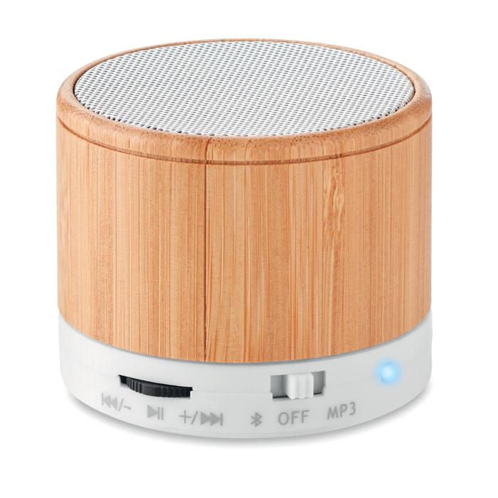 MO9608-06<br> Boxa rotunda wireless bambus