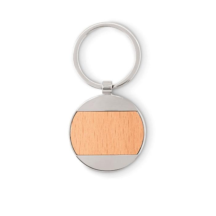 MO9848-40<br> Breloc rotund din lemn/zinc